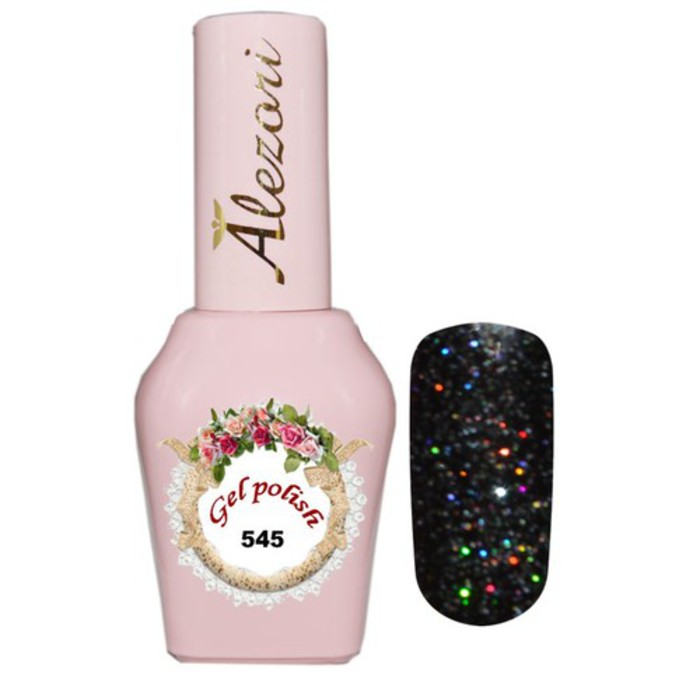 Alezori Gel Polish №545 15ml BLACK GLITTER