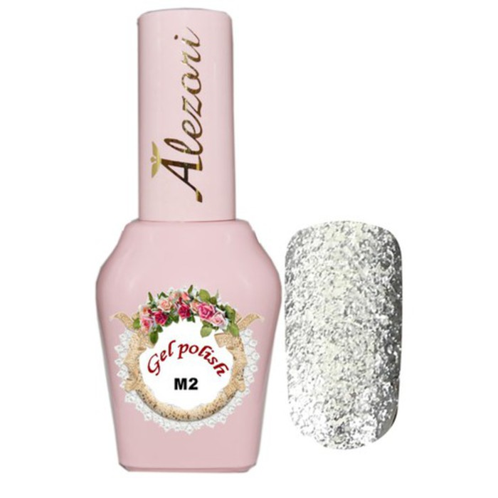 Alezori Gel Polish № M1   15ml TOTAL SILVER GLITTER ΜΕ ΠΑΓΓΕΤΑ