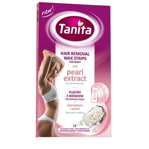 TANITA Hair Removal Wax Strips For Body Pearl Extract+After Depilation Oil 10ml 12 SOFT STRIPS